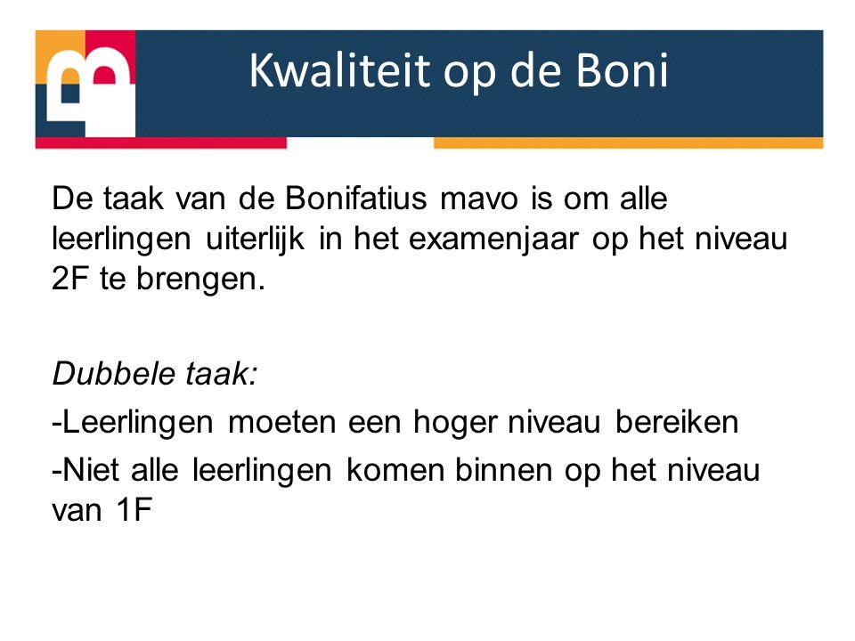 Kwaliteit op de Boni De taak van de Bonifatius mavo is om alle leerlingen uiterlijk in het examenjaar op het niveau 2F te brengen. Dubbele taak: -Leer