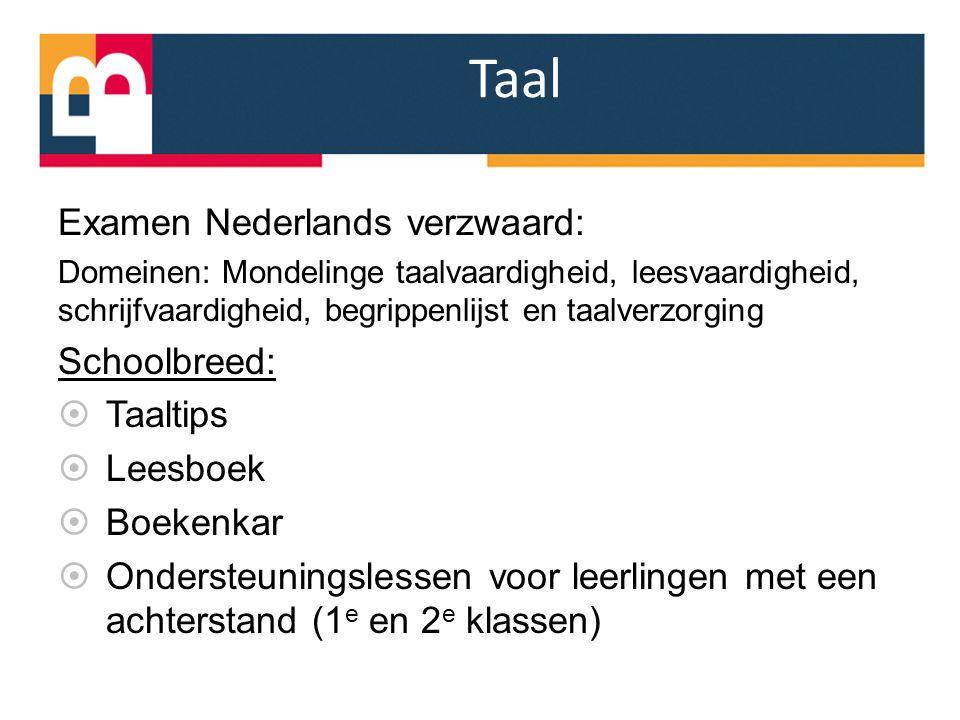 Taal Examen Nederlands verzwaard: Domeinen: Mondelinge taalvaardigheid, leesvaardigheid, schrijfvaardigheid, begrippenlijst en taalverzorging Schoolbr