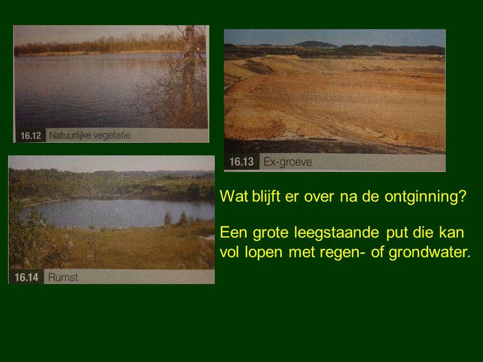 Wat blijft er over na de ontginning? Een grote leegstaande put die kan vol lopen met regen- of grondwater.