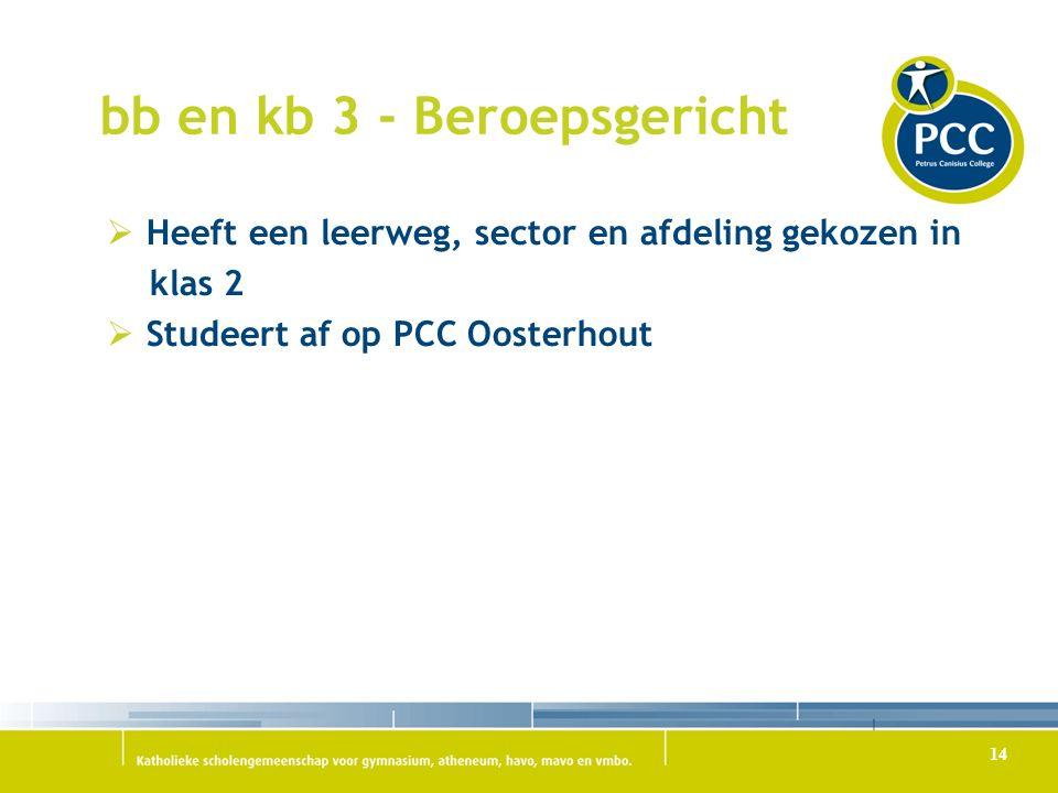bb en kb 3 - Beroepsgericht  Heeft een leerweg, sector en afdeling gekozen in klas 2  Studeert af op PCC Oosterhout 14