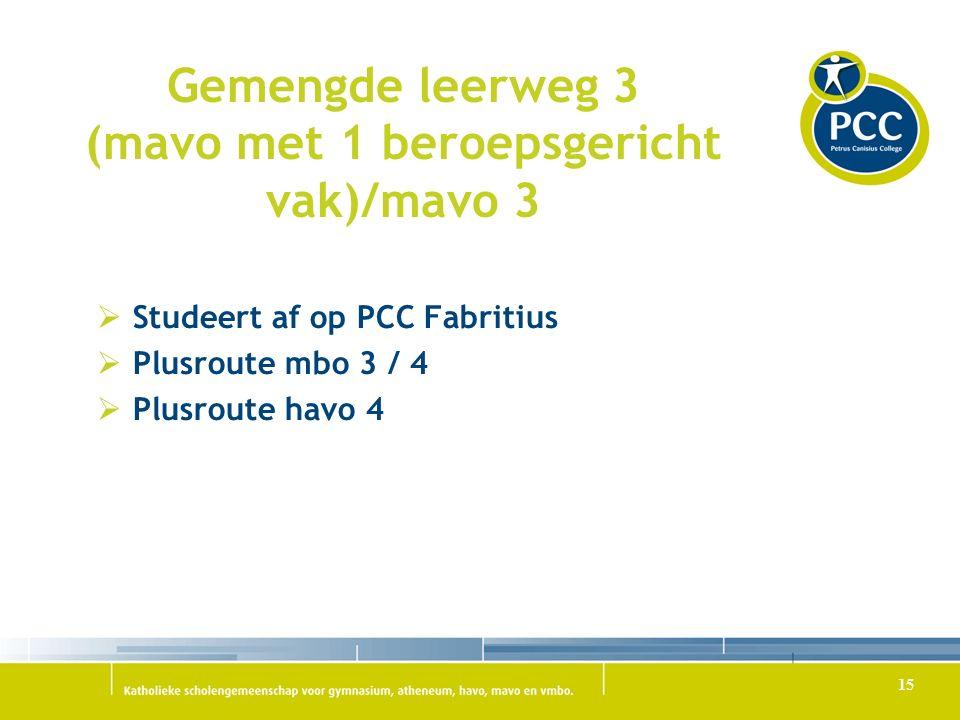 Gemengde leerweg 3 (mavo met 1 beroepsgericht vak)/mavo 3  Studeert af op PCC Fabritius  Plusroute mbo 3 / 4  Plusroute havo 4 15