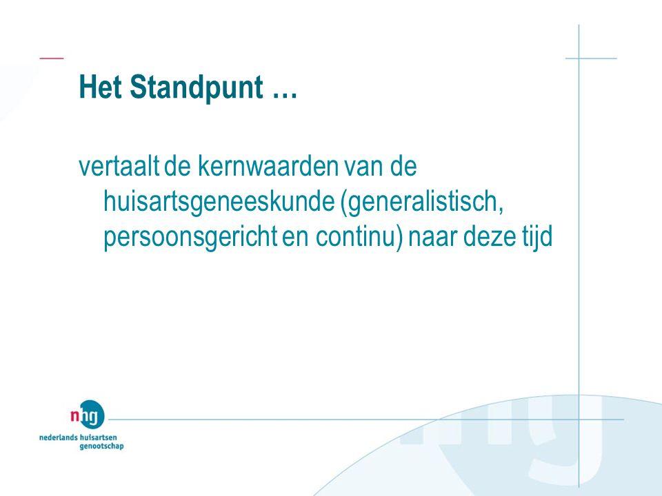 Het Standpunt … vertaalt de kernwaarden van de huisartsgeneeskunde (generalistisch, persoonsgericht en continu) naar deze tijd