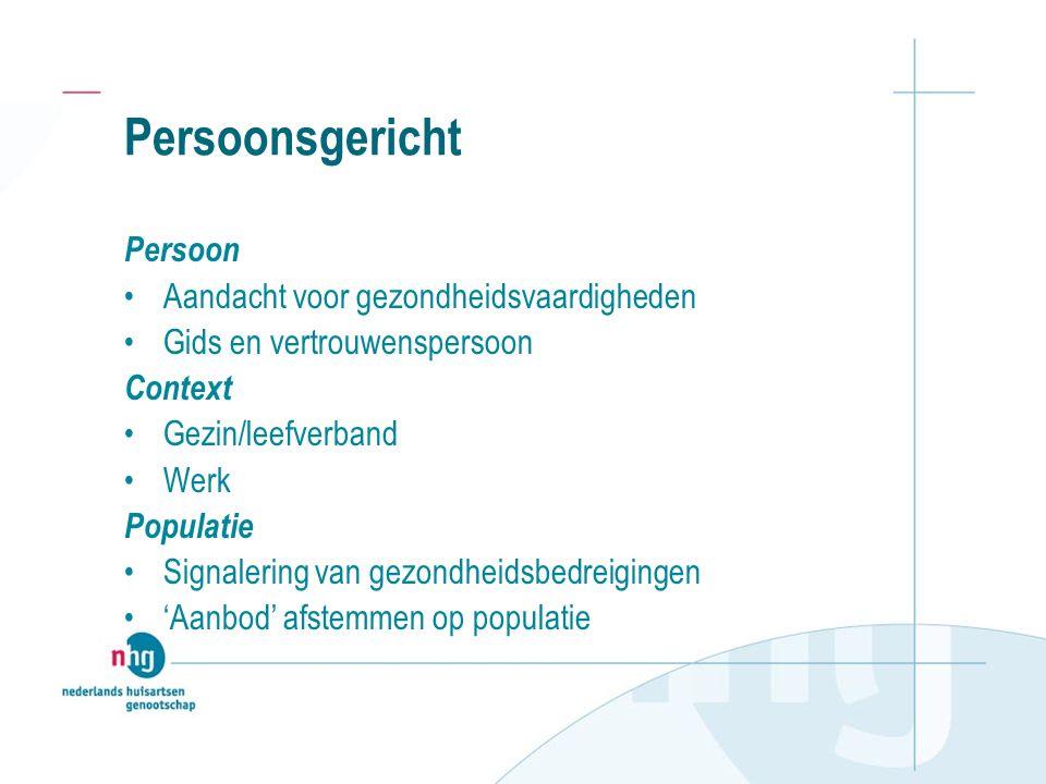 Persoonsgericht Persoon Aandacht voor gezondheidsvaardigheden Gids en vertrouwenspersoon Context Gezin/leefverband Werk Populatie Signalering van gezondheidsbedreigingen 'Aanbod' afstemmen op populatie