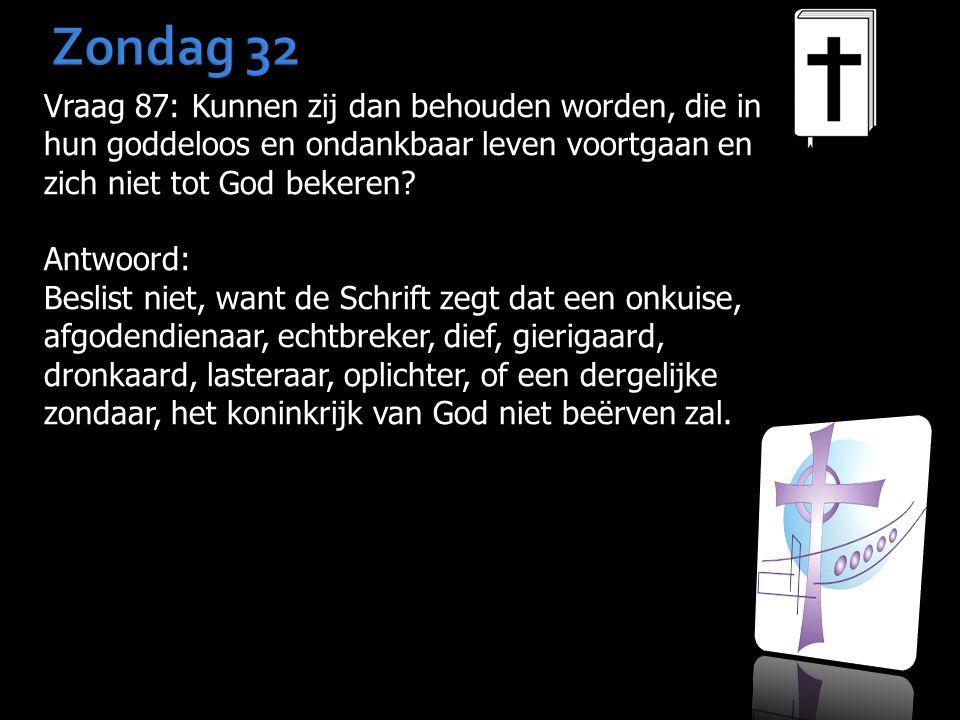 Zondag 32 Vraag 87: Kunnen zij dan behouden worden, die in hun goddeloos en ondankbaar leven voortgaan en zich niet tot God bekeren? Antwoord: Beslist