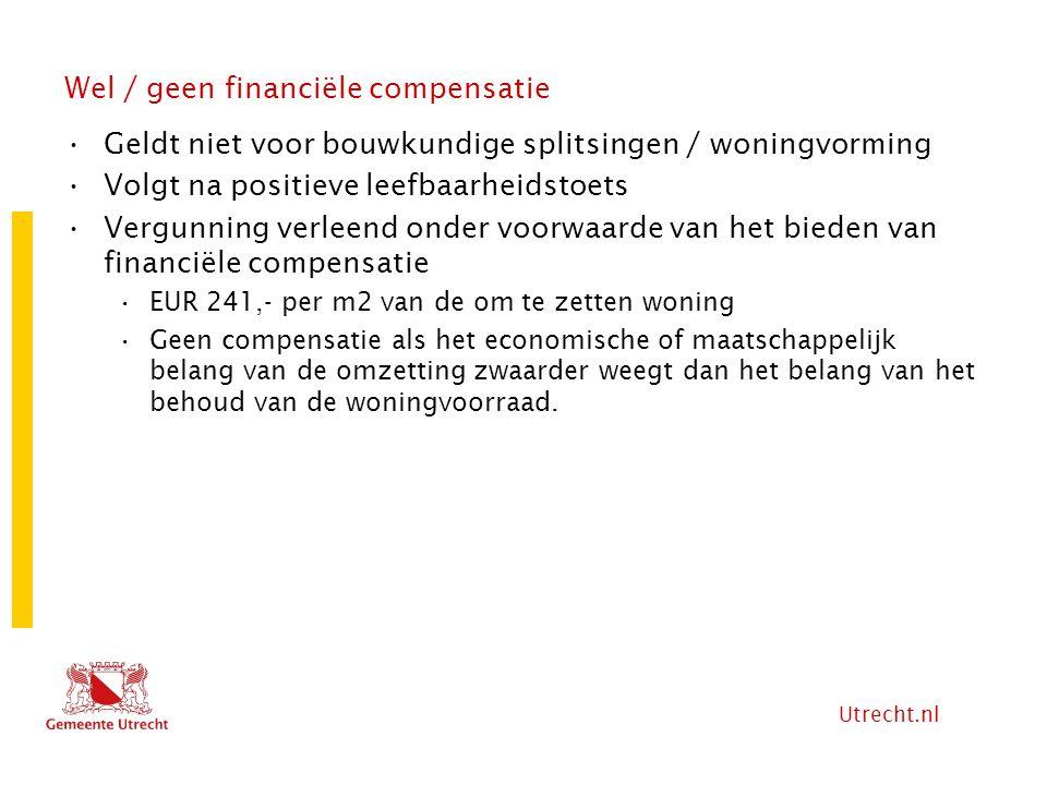 Utrecht.nl Wel / geen financiële compensatie Geldt niet voor bouwkundige splitsingen / woningvorming Volgt na positieve leefbaarheidstoets Vergunning