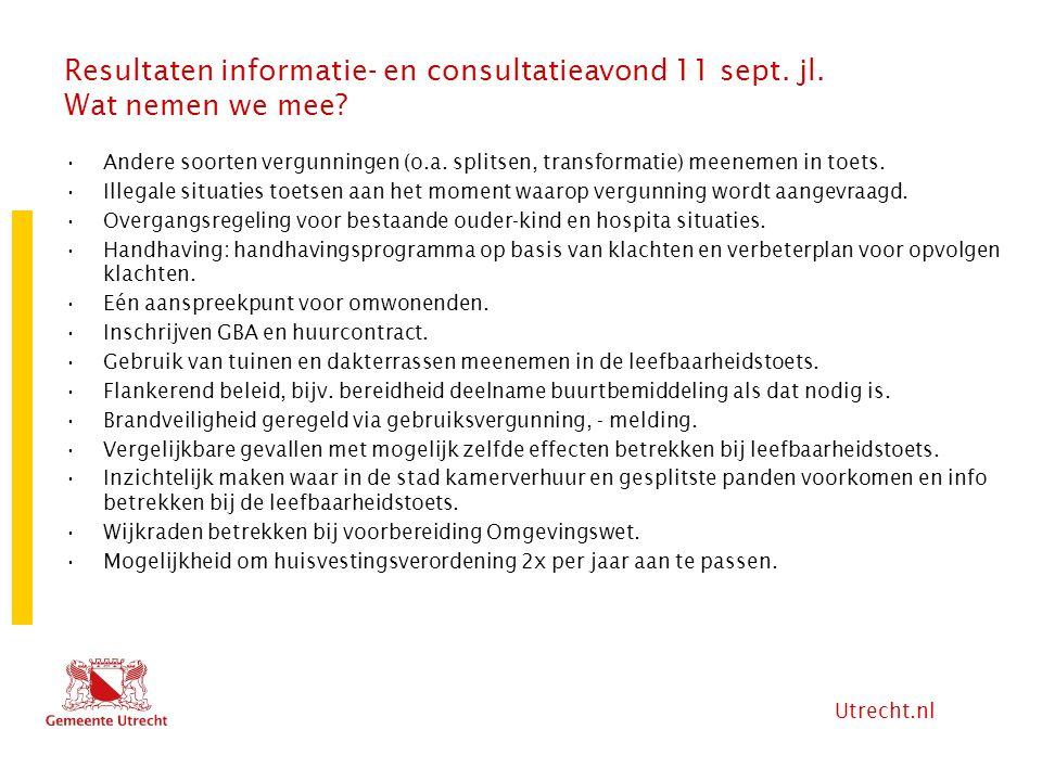 Utrecht.nl Resultaten informatie- en consultatieavond 11 sept. jl. Wat nemen we mee? Andere soorten vergunningen (o.a. splitsen, transformatie) meenem