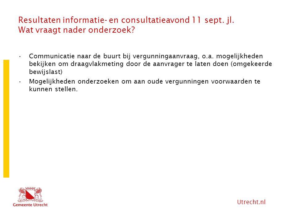 Utrecht.nl Resultaten informatie- en consultatieavond 11 sept. jl. Wat vraagt nader onderzoek? Communicatie naar de buurt bij vergunningaanvraag, o.a.