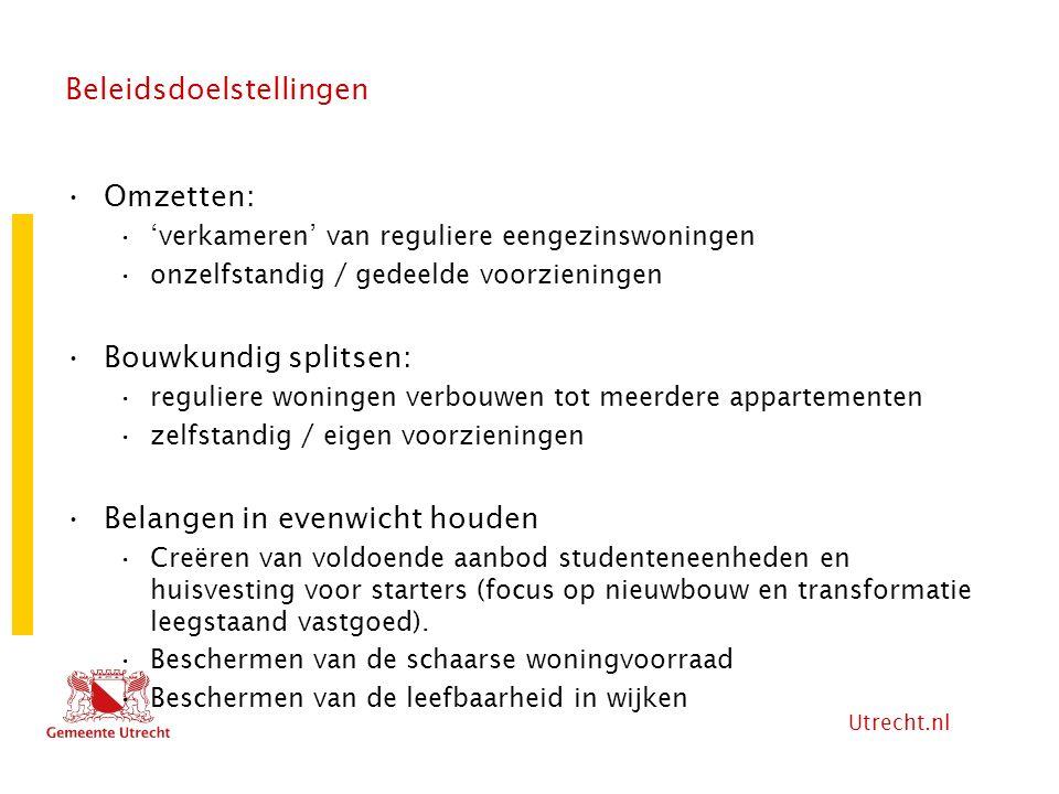 Utrecht.nl Beleidsdoelstellingen Omzetten: 'verkameren' van reguliere eengezinswoningen onzelfstandig / gedeelde voorzieningen Bouwkundig splitsen: re