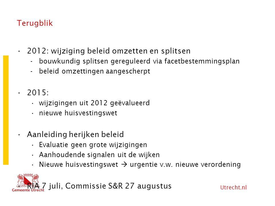 Utrecht.nl Terugblik 2012: wijziging beleid omzetten en splitsen -bouwkundig splitsen gereguleerd via facetbestemmingsplan -beleid omzettingen aangesc