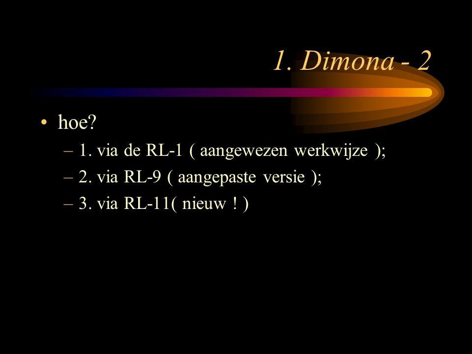 1. Dimona - 2 hoe? –1. via de RL-1 ( aangewezen werkwijze ); –2. via RL-9 ( aangepaste versie ); –3. via RL-11( nieuw ! )