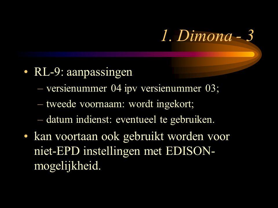 1. Dimona - 3 RL-9: aanpassingen –versienummer 04 ipv versienummer 03; –tweede voornaam: wordt ingekort; –datum indienst: eventueel te gebruiken. kan