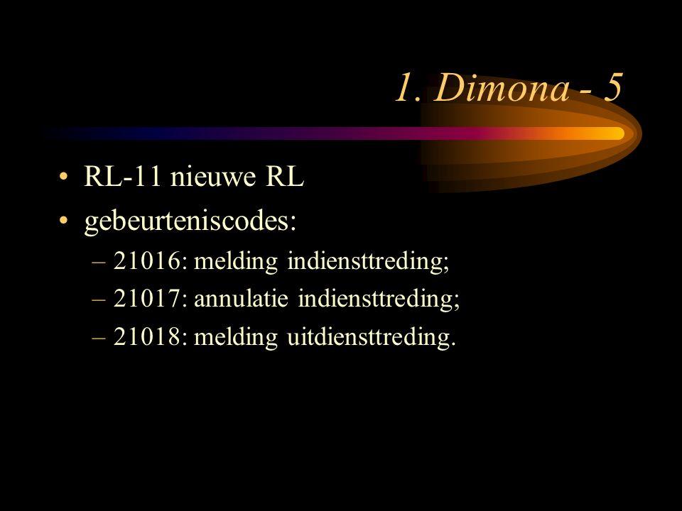 1. Dimona - 5 RL-11 nieuwe RL gebeurteniscodes: –21016: melding indiensttreding; –21017: annulatie indiensttreding; –21018: melding uitdiensttreding.