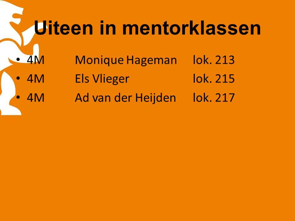 Uiteen in mentorklassen 4MMonique Hagemanlok. 213 4MEls Vliegerlok.