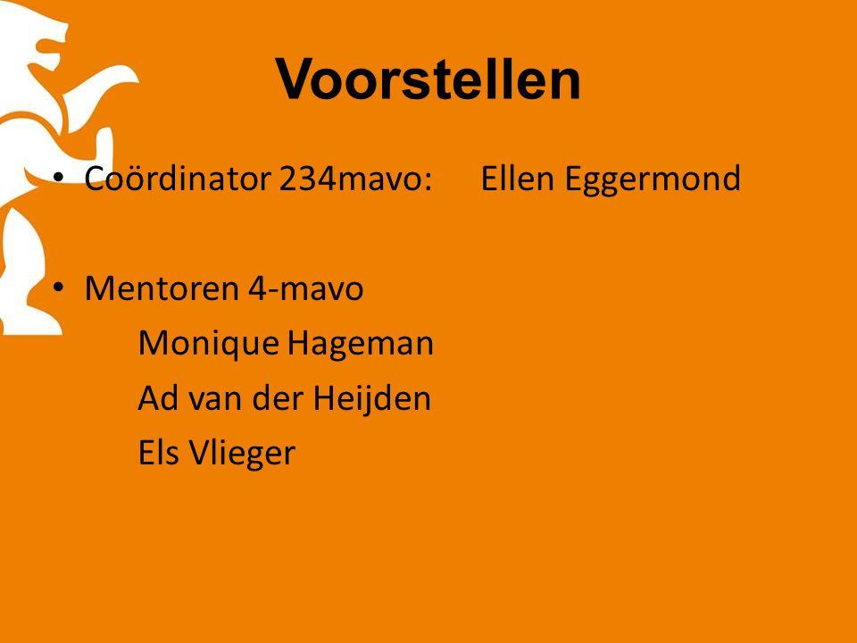 Voorstellen Coördinator 234mavo:Ellen Eggermond Mentoren 4-mavo Monique Hageman Ad van der Heijden Els Vlieger