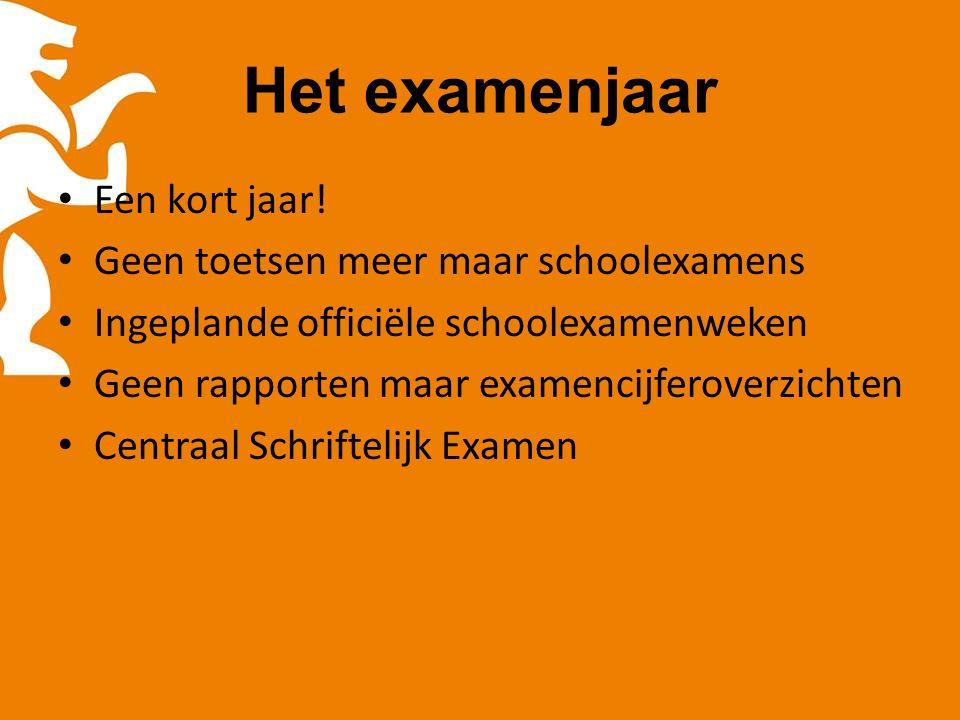 Het examenjaar Een kort jaar.