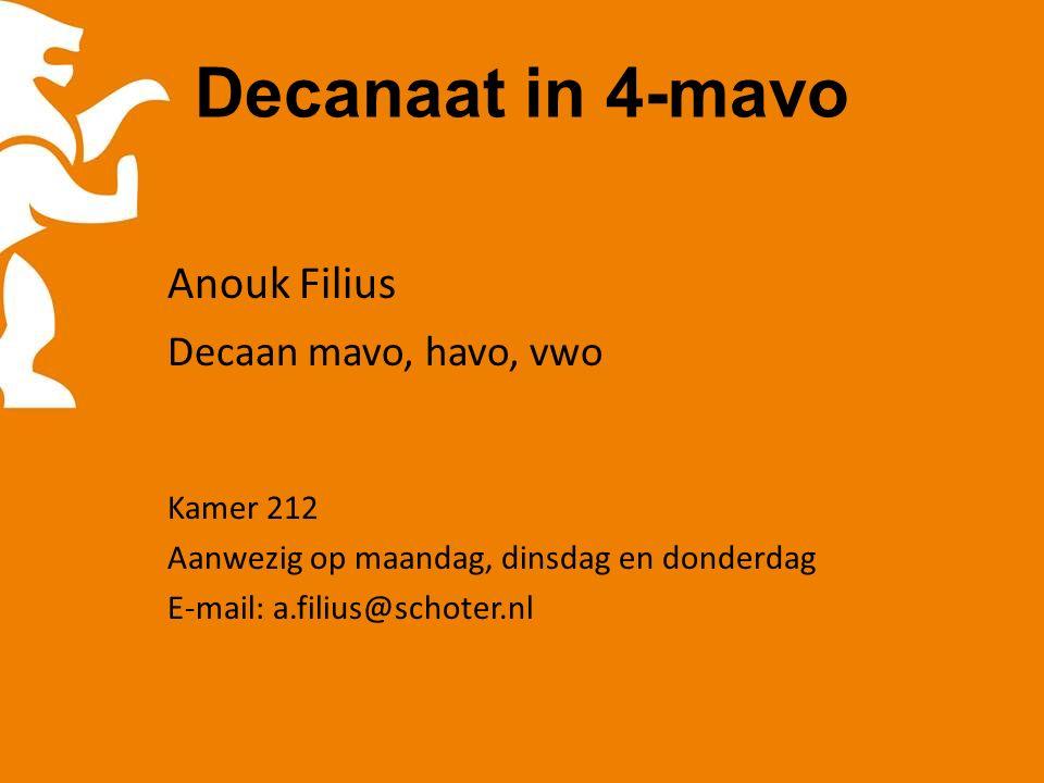 Decanaat in 4-mavo Anouk Filius Decaan mavo, havo, vwo Kamer 212 Aanwezig op maandag, dinsdag en donderdag E-mail: a.filius@schoter.nl