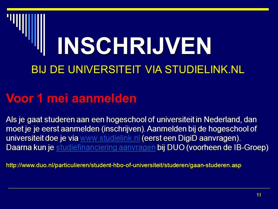 11 INSCHRIJVEN BIJ DE UNIVERSITEIT VIA STUDIELINK.NL Voor 1 mei aanmelden Als je gaat studeren aan een hogeschool of universiteit in Nederland, dan moet je je eerst aanmelden (inschrijven).