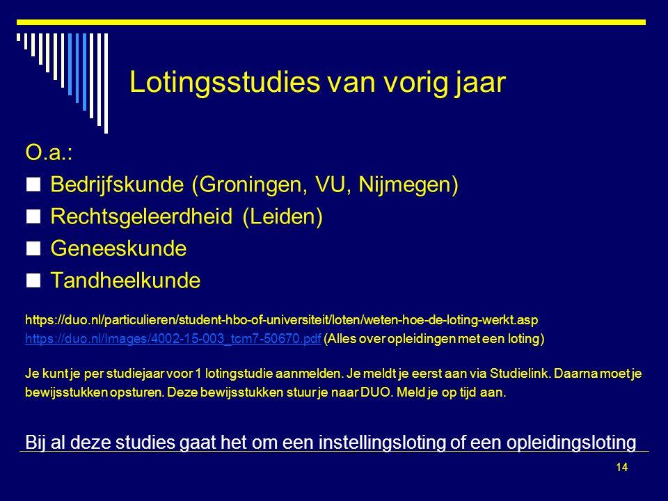 14 Lotingsstudies van vorig jaar O.a.: Bedrijfskunde (Groningen, VU, Nijmegen) Rechtsgeleerdheid (Leiden) Geneeskunde Tandheelkunde https://duo.nl/particulieren/student-hbo-of-universiteit/loten/weten-hoe-de-loting-werkt.asp https://duo.nl/Images/4002-15-003_tcm7-50670.pdfhttps://duo.nl/Images/4002-15-003_tcm7-50670.pdf (Alles over opleidingen met een loting) Je kunt je per studiejaar voor 1 lotingstudie aanmelden.