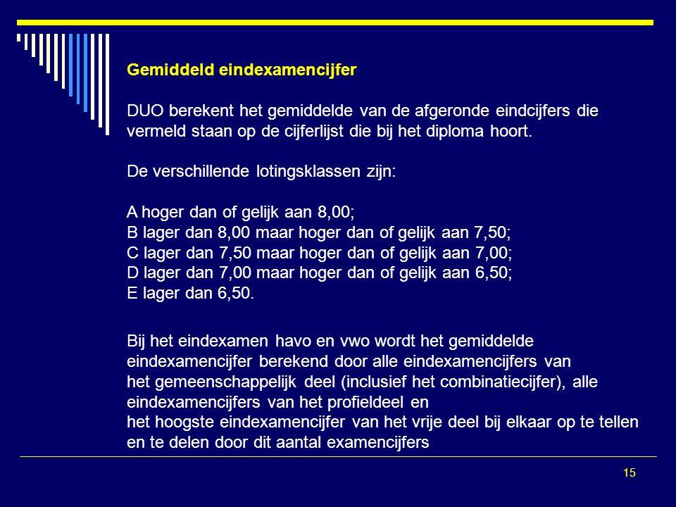 15 Gemiddeld eindexamencijfer DUO berekent het gemiddelde van de afgeronde eindcijfers die vermeld staan op de cijferlijst die bij het diploma hoort.