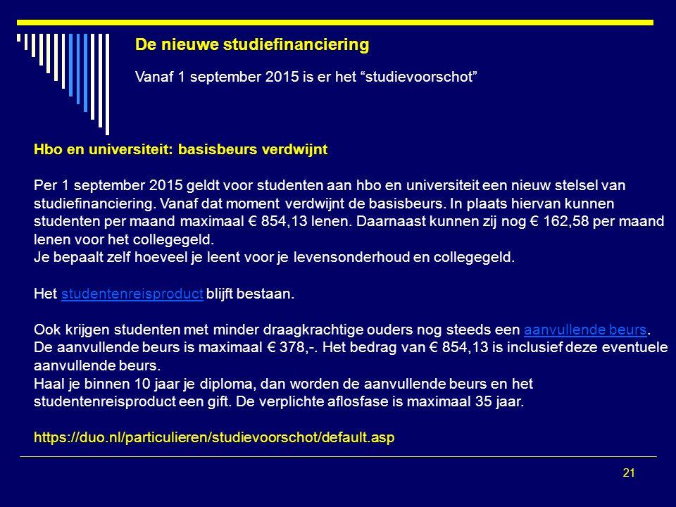 21 De nieuwe studiefinanciering Vanaf 1 september 2015 is er het studievoorschot Hbo en universiteit: basisbeurs verdwijnt Per 1 september 2015 geldt voor studenten aan hbo en universiteit een nieuw stelsel van studiefinanciering.