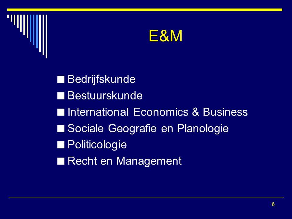 6 E&M Bedrijfskunde Bestuurskunde International Economics & Business Sociale Geografie en Planologie Politicologie Recht en Management