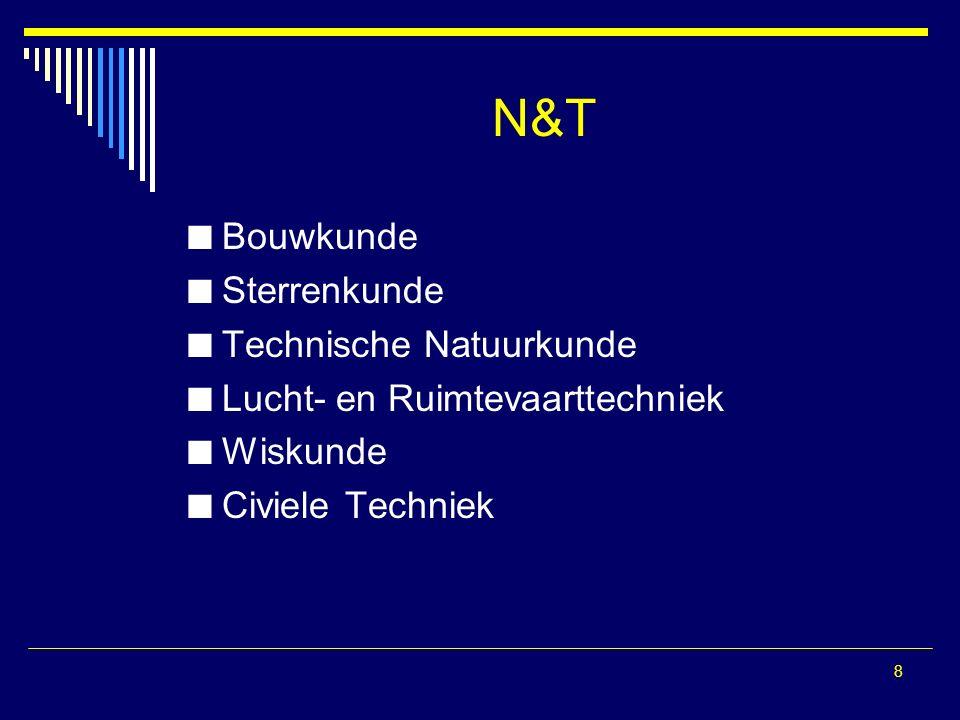 8 N&T Bouwkunde Sterrenkunde Technische Natuurkunde Lucht- en Ruimtevaarttechniek Wiskunde Civiele Techniek