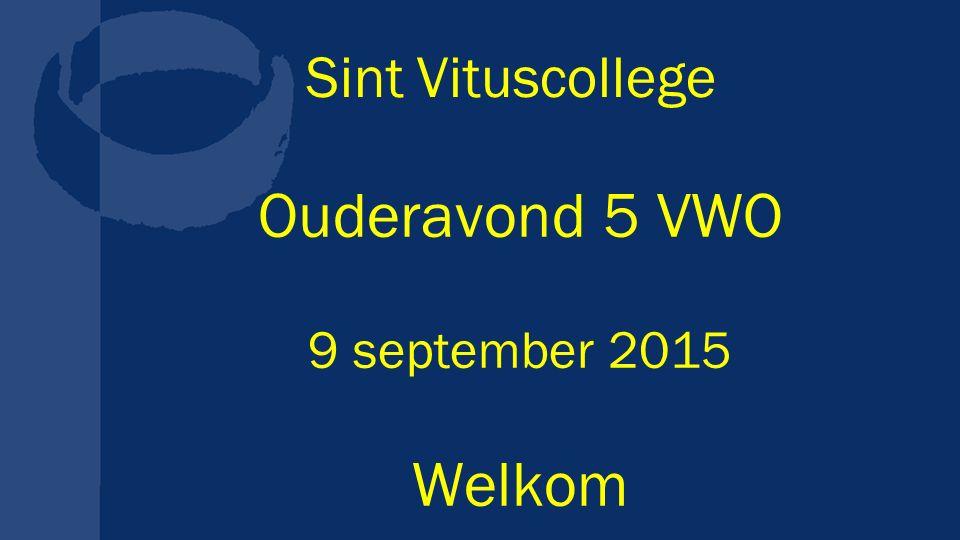 Sint Vituscollege Ouderavond 5 VWO 9 september 2015 Welkom