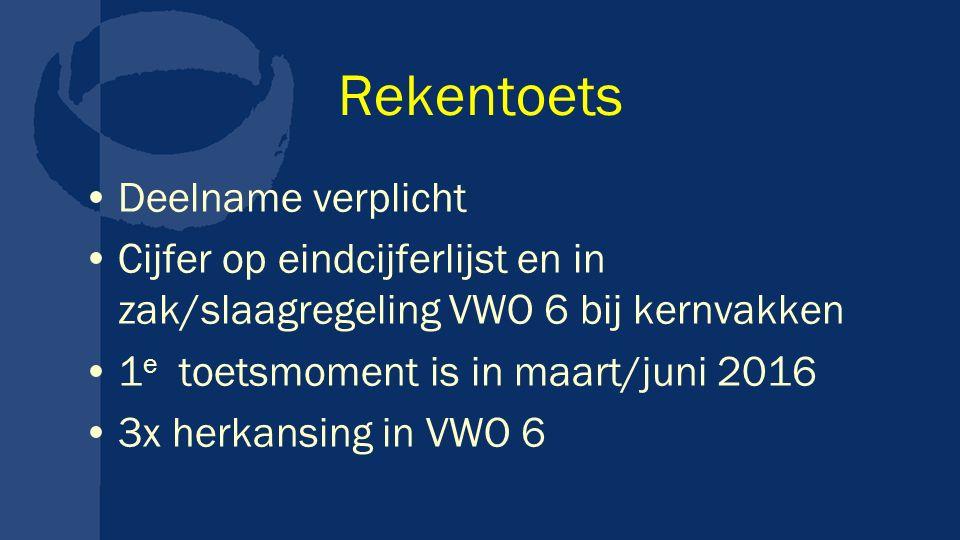 Rekentoets Deelname verplicht Cijfer op eindcijferlijst en in zak/slaagregeling VWO 6 bij kernvakken 1 e toetsmoment is in maart/juni 2016 3x herkansing in VWO 6