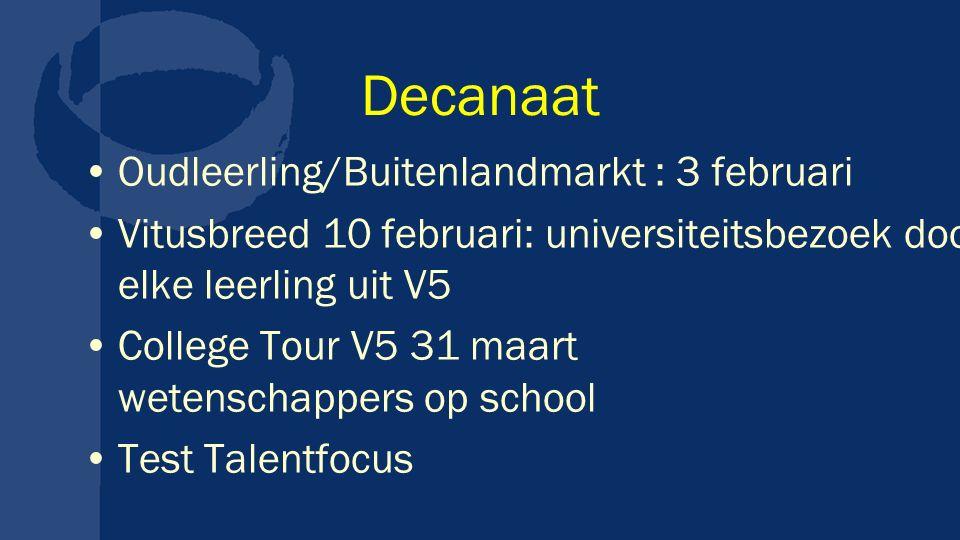 Decanaat Oudleerling/Buitenlandmarkt : 3 februari Vitusbreed 10 februari: universiteitsbezoek door elke leerling uit V5 College Tour V5 31 maart wetenschappers op school Test Talentfocus