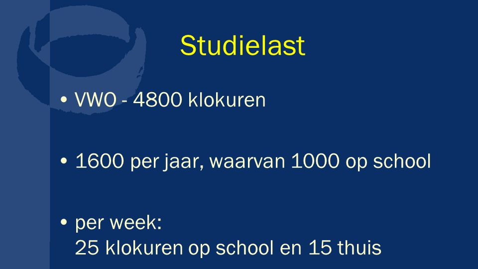 Studielast VWO - 4800 klokuren 1600 per jaar, waarvan 1000 op school per week: 25 klokuren op school en 15 thuis