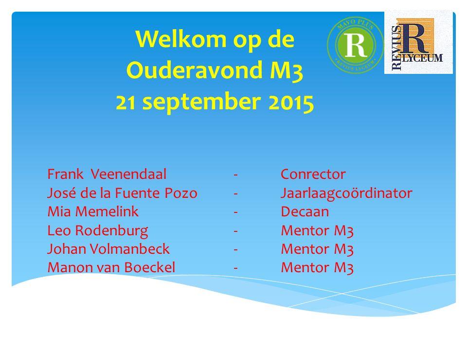 Welkom op de Ouderavond M3 21 september 2015 Frank Veenendaal - Conrector José de la Fuente Pozo - Jaarlaagcoördinator Mia Memelink - Decaan Leo Roden