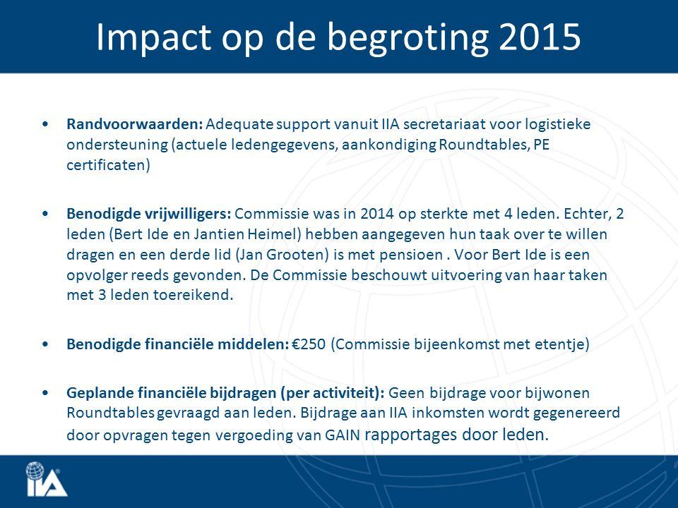 Randvoorwaarden: Adequate support vanuit IIA secretariaat voor logistieke ondersteuning (actuele ledengegevens, aankondiging Roundtables, PE certificaten) Benodigde vrijwilligers: Commissie was in 2014 op sterkte met 4 leden.