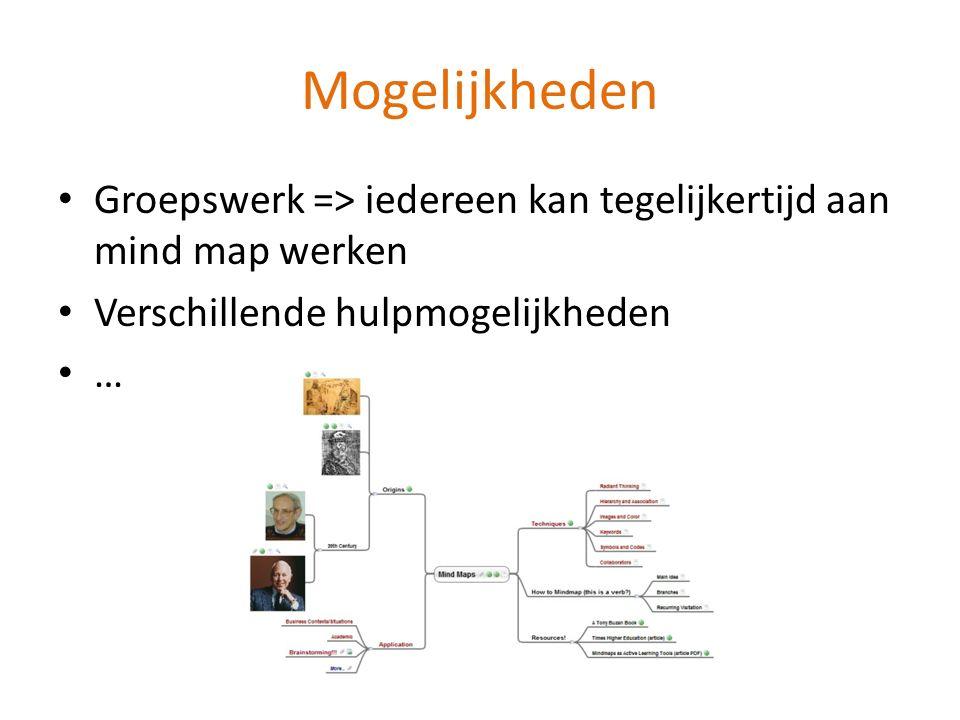 Mogelijkheden Groepswerk => iedereen kan tegelijkertijd aan mind map werken Verschillende hulpmogelijkheden …