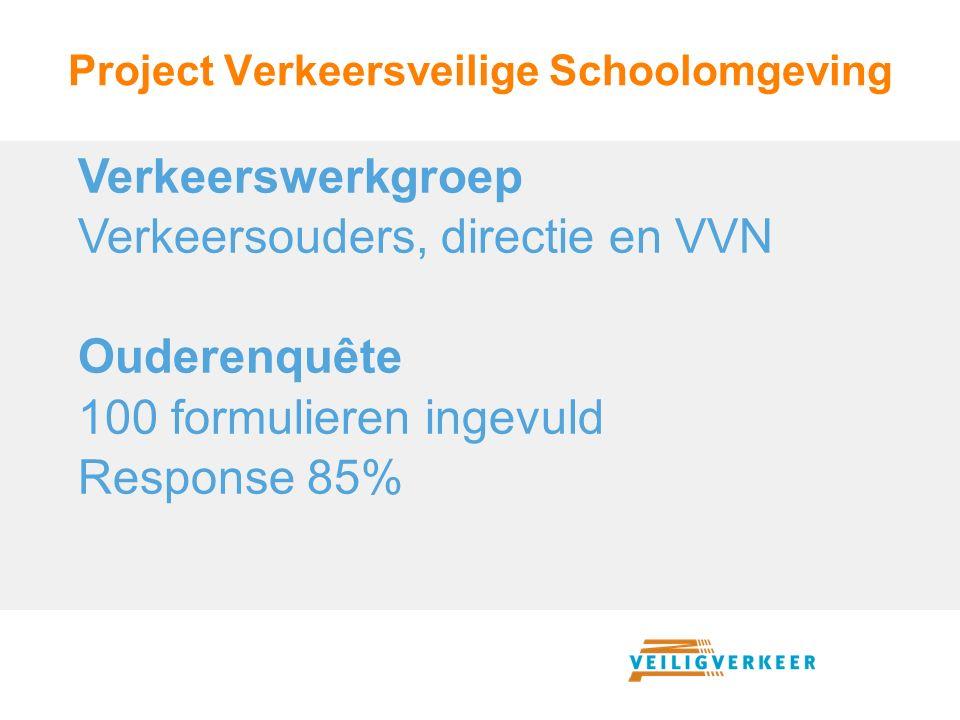 Project Verkeersveilige Schoolomgeving Verkeerswerkgroep Verkeersouders, directie en VVN Ouderenquête 100 formulieren ingevuld Response 85%