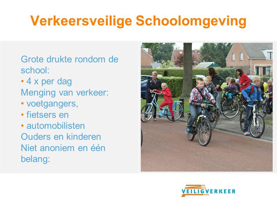 Verkeersveilige Schoolomgeving Grote drukte rondom de school: 4 x per dag Menging van verkeer: voetgangers, fietsers en automobilisten Ouders en kinde