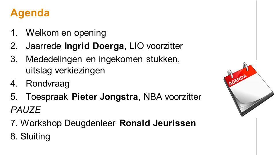 Agenda 1.Welkom en opening 2.Jaarrede Ingrid Doerga, LIO voorzitter 3.Mededelingen en ingekomen stukken, uitslag verkiezingen 4.Rondvraag 5.Toespraak