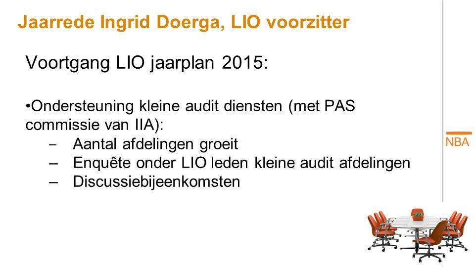 Jaarrede Ingrid Doerga, LIO voorzitter Voortgang LIO jaarplan 2015: Opleidingen en cursusaanbod –Academie publieke sector –Survey onder intern accountants –Uitbreiding cursus aanbod