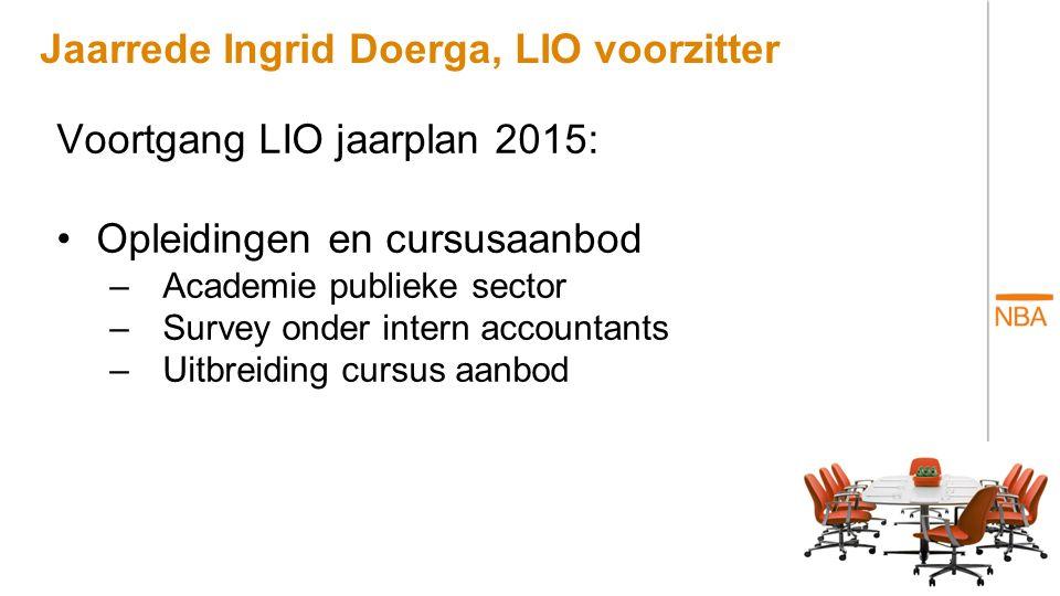 Jaarrede Ingrid Doerga, LIO voorzitter Voortgang LIO jaarplan 2015: Opleidingen en cursusaanbod –Academie publieke sector –Survey onder intern account
