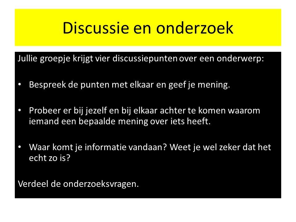 Discussie en onderzoek Jullie groepje krijgt vier discussiepunten over een onderwerp: Bespreek de punten met elkaar en geef je mening.