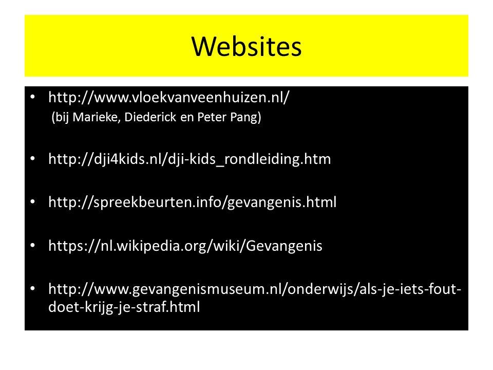 Websites http://www.vloekvanveenhuizen.nl/ (bij Marieke, Diederick en Peter Pang) http://dji4kids.nl/dji-kids_rondleiding.htm http://spreekbeurten.info/gevangenis.html https://nl.wikipedia.org/wiki/Gevangenis http://www.gevangenismuseum.nl/onderwijs/als-je-iets-fout- doet-krijg-je-straf.html