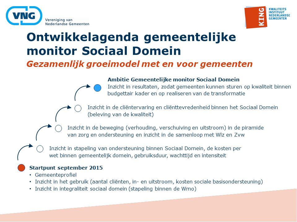 Ontwikkelagenda gemeentelijke monitor Sociaal Domein Gezamenlijk groeimodel met en voor gemeenten Inzicht in de beweging (verhouding, verschuiving en