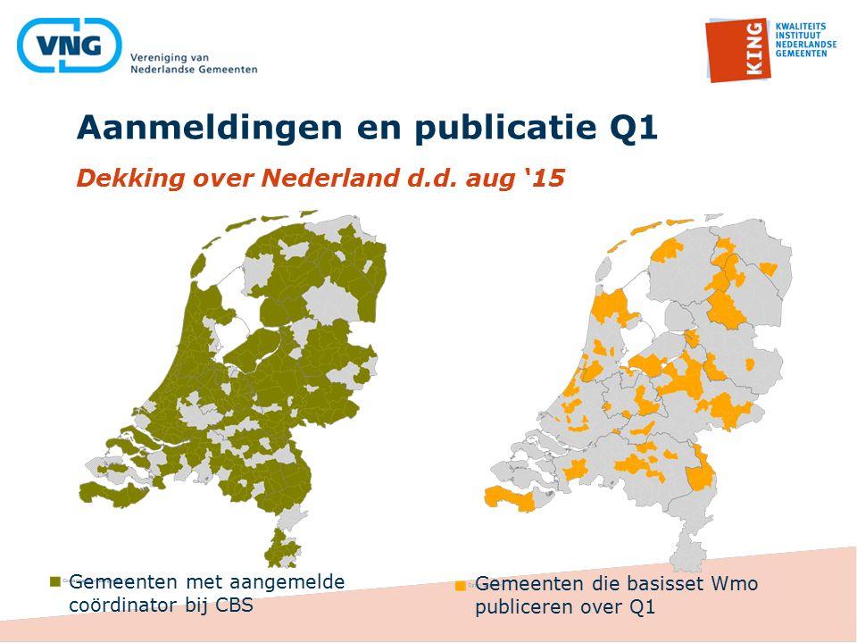 Aanmeldingen en publicatie Q1 Dekking over Nederland d.d. aug '15 Gemeenten met aangemelde coördinator bij CBS Gemeenten die basisset Wmo publiceren o