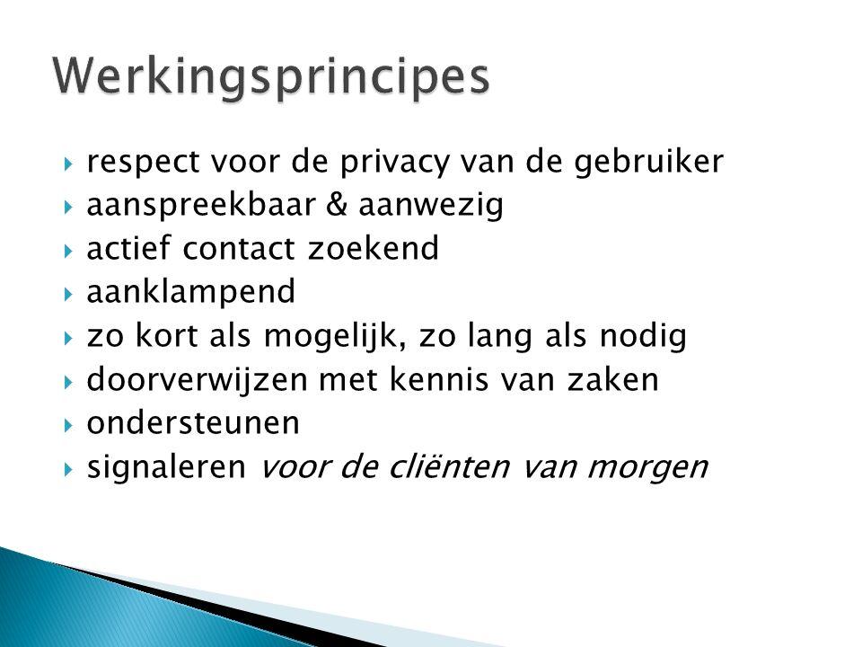  respect voor de privacy van de gebruiker  aanspreekbaar & aanwezig  actief contact zoekend  aanklampend  zo kort als mogelijk, zo lang als nodig  doorverwijzen met kennis van zaken  ondersteunen  signaleren voor de cliënten van morgen