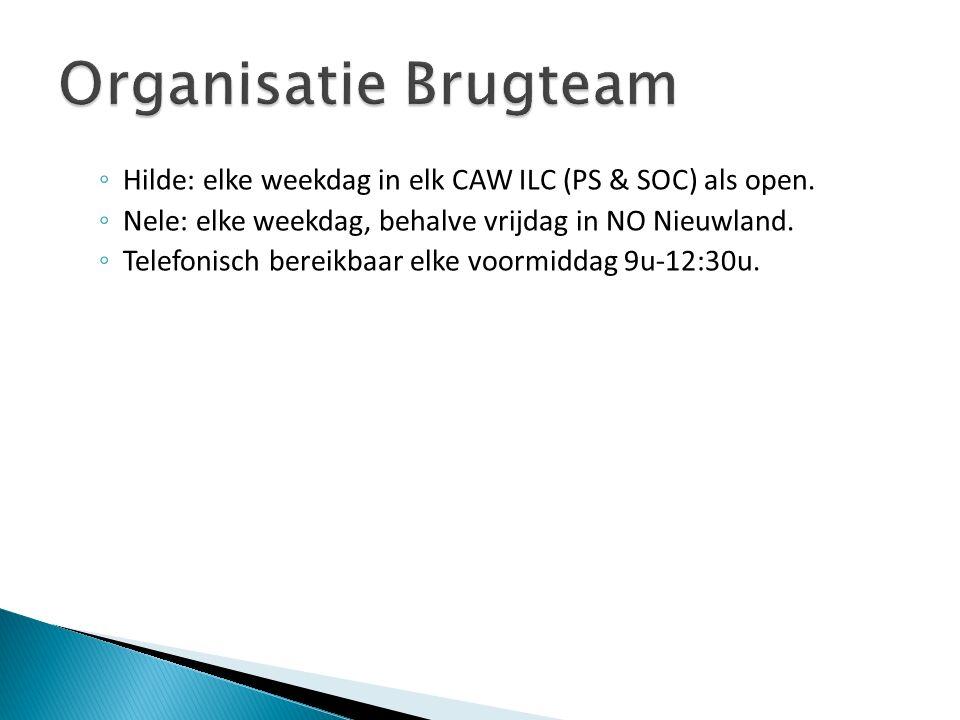 ◦ Hilde: elke weekdag in elk CAW ILC (PS & SOC) als open. ◦ Nele: elke weekdag, behalve vrijdag in NO Nieuwland. ◦ Telefonisch bereikbaar elke voormid