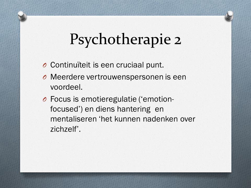 Psychotherapie 2 O Continuïteit is een cruciaal punt.