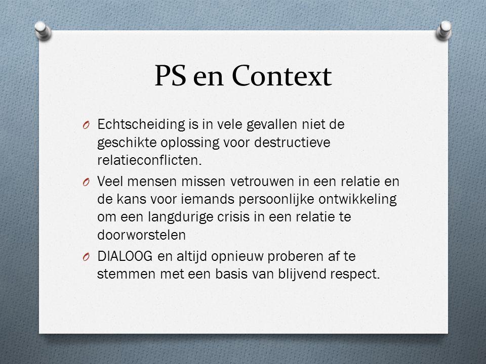 PS en Context O Echtscheiding is in vele gevallen niet de geschikte oplossing voor destructieve relatieconflicten.