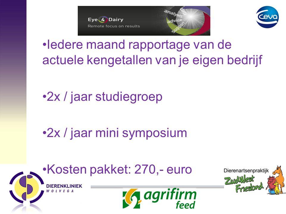 Eye for dairy: Iedere maand rapportage van de actuele kengetallen van je eigen bedrijf 2x / jaar studiegroep 2x / jaar mini symposium Kosten pakket: 270,- euro