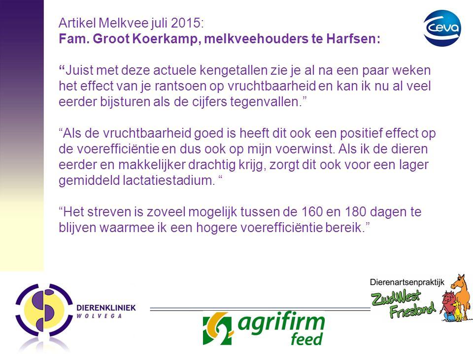 """Artikel Melkvee juli 2015: Fam. Groot Koerkamp, melkveehouders te Harfsen: """"Juist met deze actuele kengetallen zie je al na een paar weken het effect"""