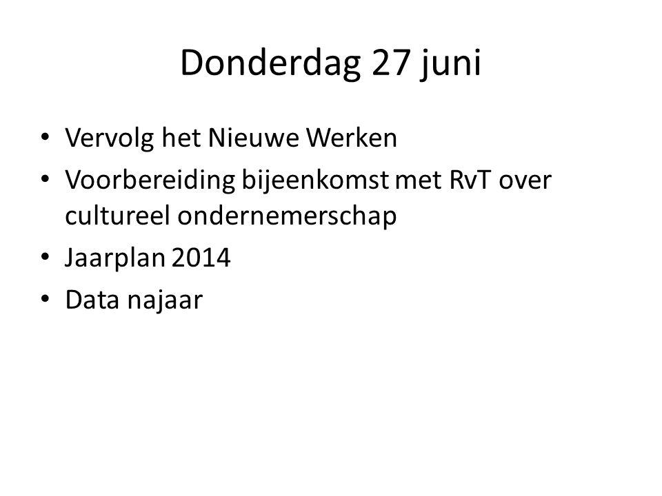 Donderdag 27 juni Vervolg het Nieuwe Werken Voorbereiding bijeenkomst met RvT over cultureel ondernemerschap Jaarplan 2014 Data najaar
