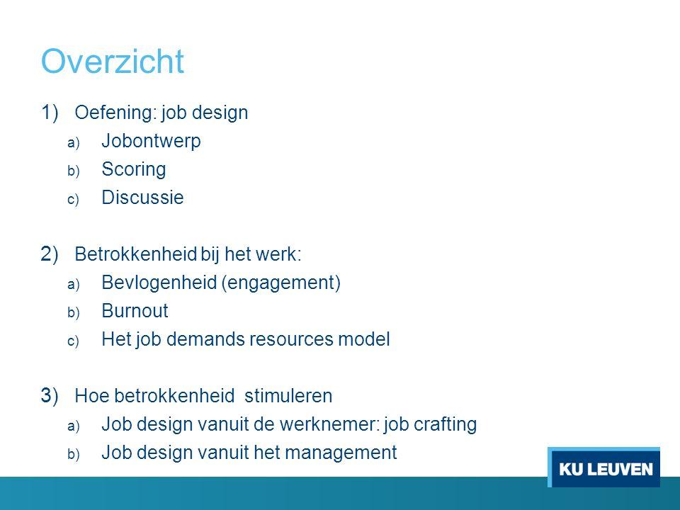 Overzicht 1) Oefening: job design a) Jobontwerp b) Scoring c) Discussie 2) Betrokkenheid bij het werk: a) Bevlogenheid (engagement) b) Burnout c) Het